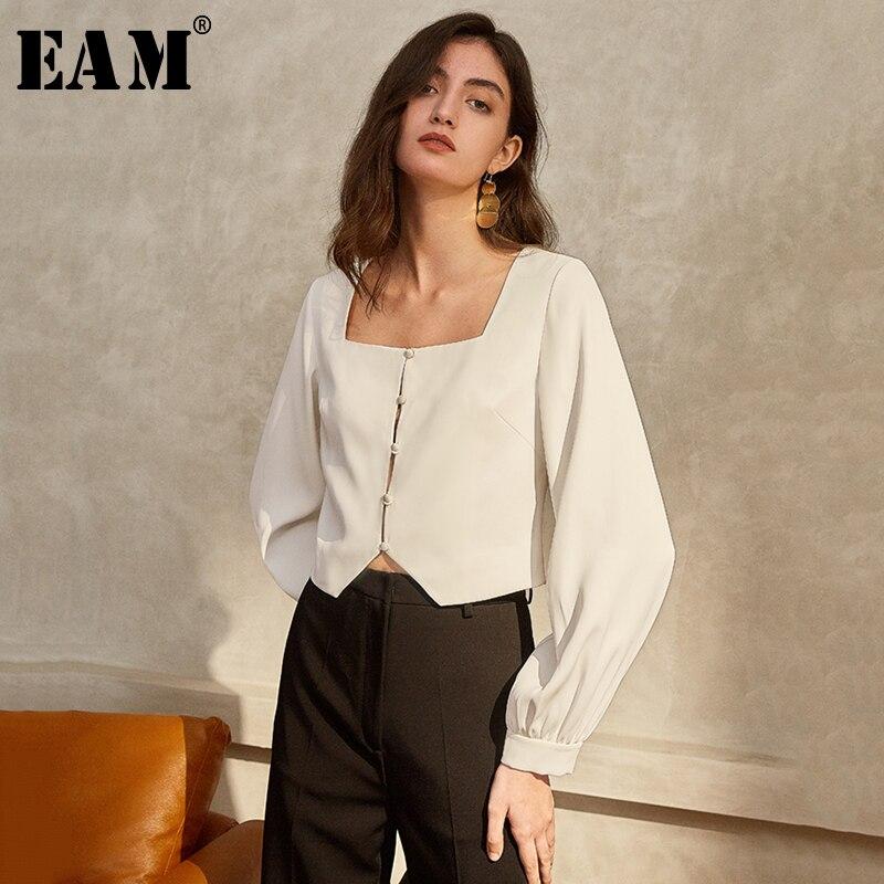 [EAM] Women White Temperament Short Blouse New Square Collar Long Puff Sleeve Loose Shirt Fashion Tide Spring Autumn 2020 1T612