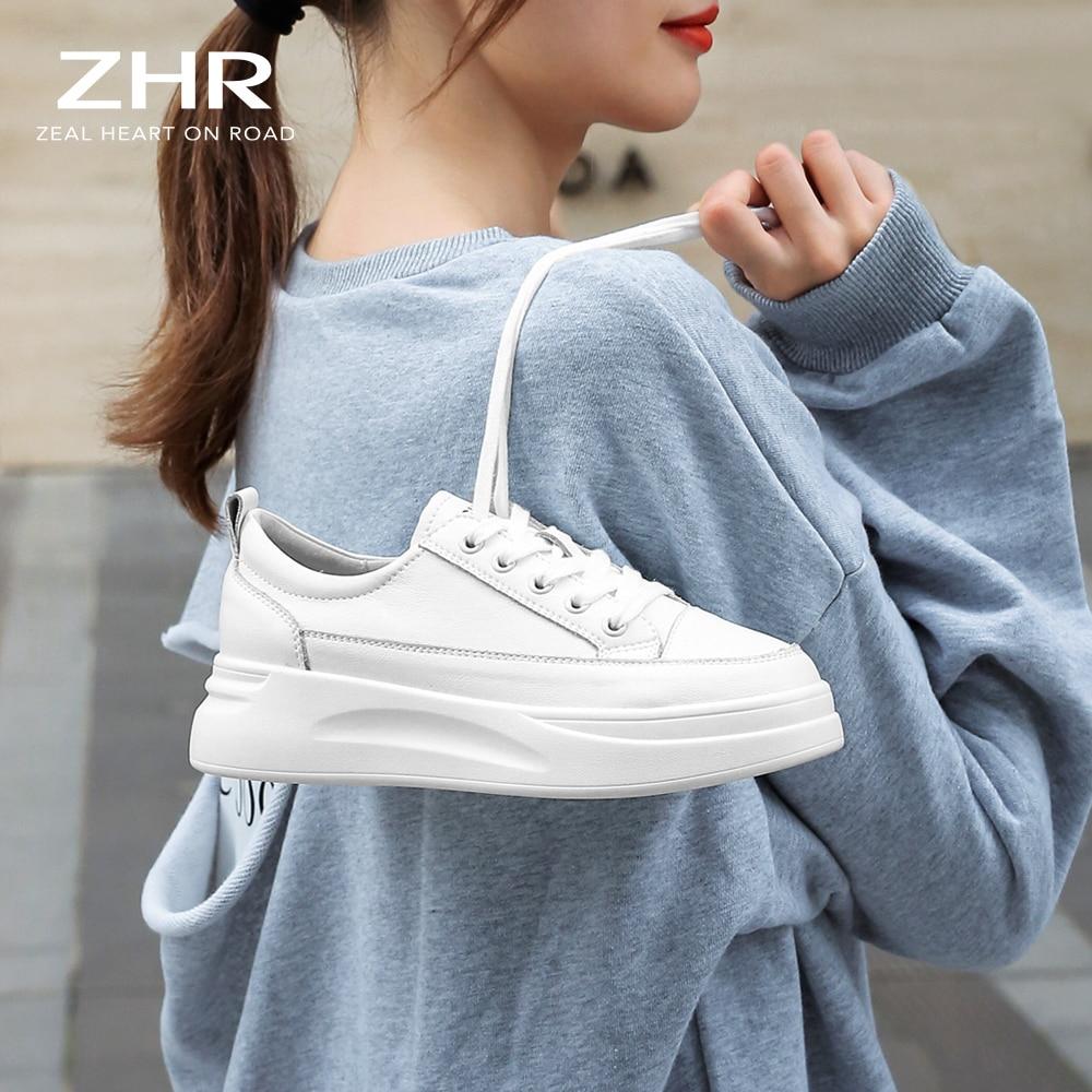 ZHR جلد طبيعي حذاء كاجوال نساء أحذية رياضية أبيض فاتح حذاء رياضة منصة ميد كعب السيدات حذاء مريح مبركن