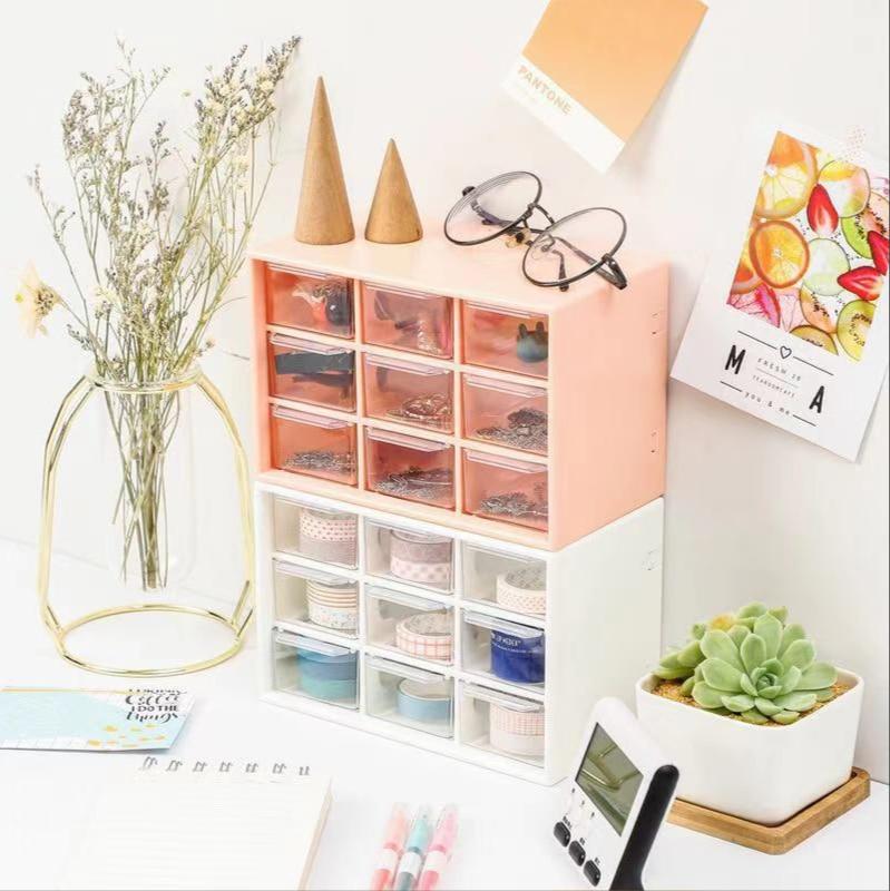 AliExpress - Girl dormitory desktop dustproof drawer stationery jewelry nine checkered checkered storage box