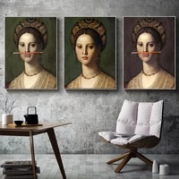 vintage woman fun lips pen classical canvas painting posters and prints wall art nordic pictures for living room home decoration