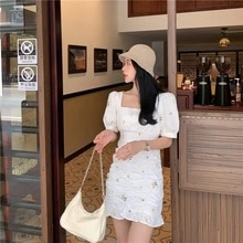 2021 New French Style Vintage Floral Puff Sleeve Dress Fairy Spring Summer Slimming Waist-Slimming D