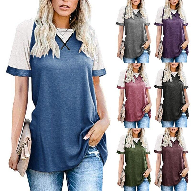 Camiseta de manga curta de raglan 2020 moda sólida topos t camisa feminina casual o-pescoço streetwear senhora topo tshirt