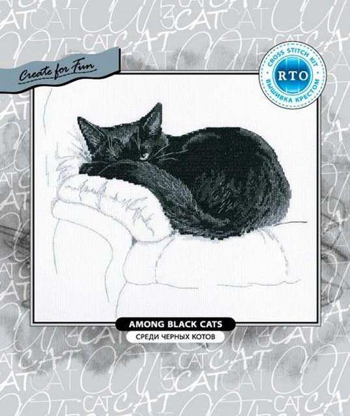mm RTO M668 black cat on the sofa cross stitch kit Animal cotton thread 14ct   linen flaxen canvas stitching embroidery DIY
