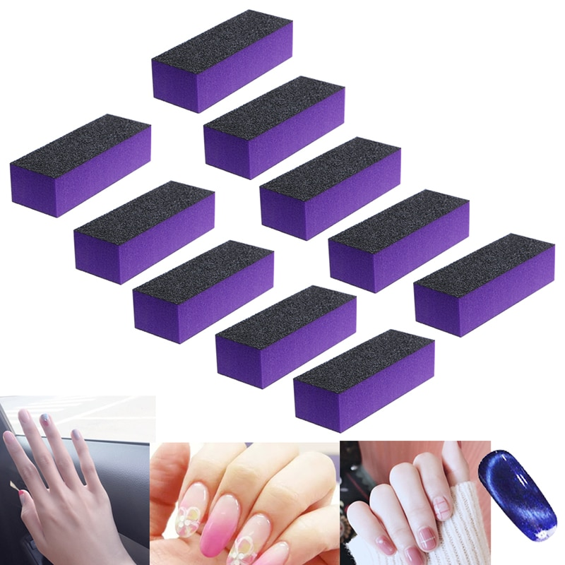 10 Uds negro púrpura de pulido bloque de lijado archivos arena conjunto de herramientas para manicura