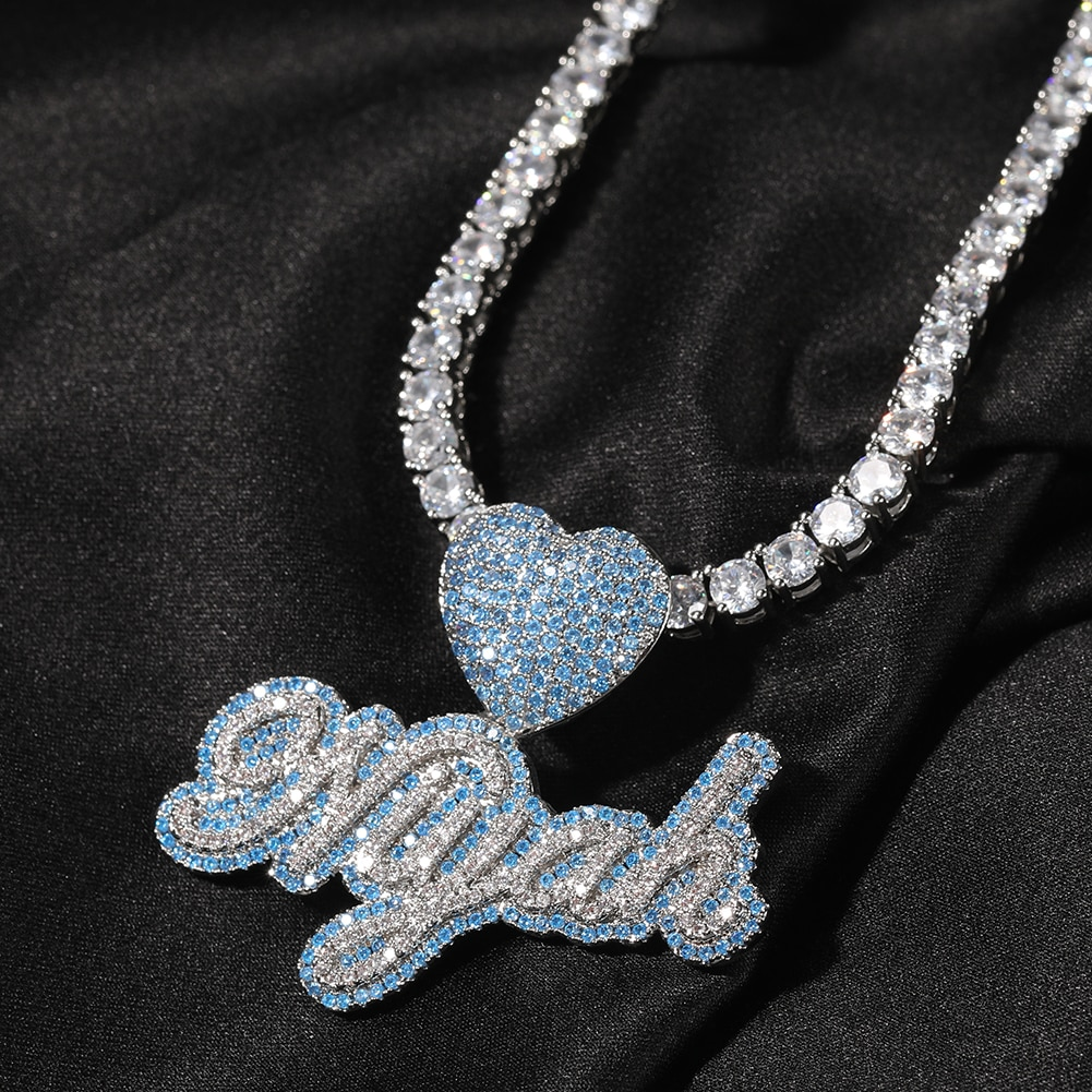 UWIN Custom Name Necklace With Heart Clasp Edwardian Letters Iced Out Blue CZ Name Pendant Women Hiphop Jewelry for Gift