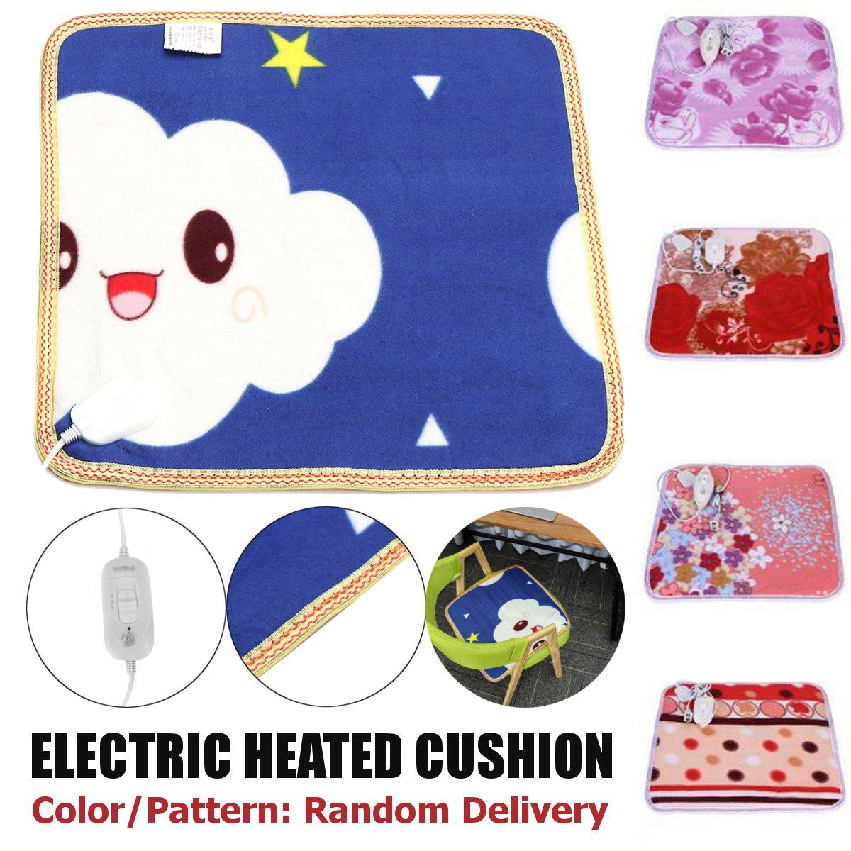 50W 220V Electric Heating Pad Blanket Heated Seat Cushion Mat Winter Chair Warmer Office Home Sofa Mat Patterns Random 45x45cm
