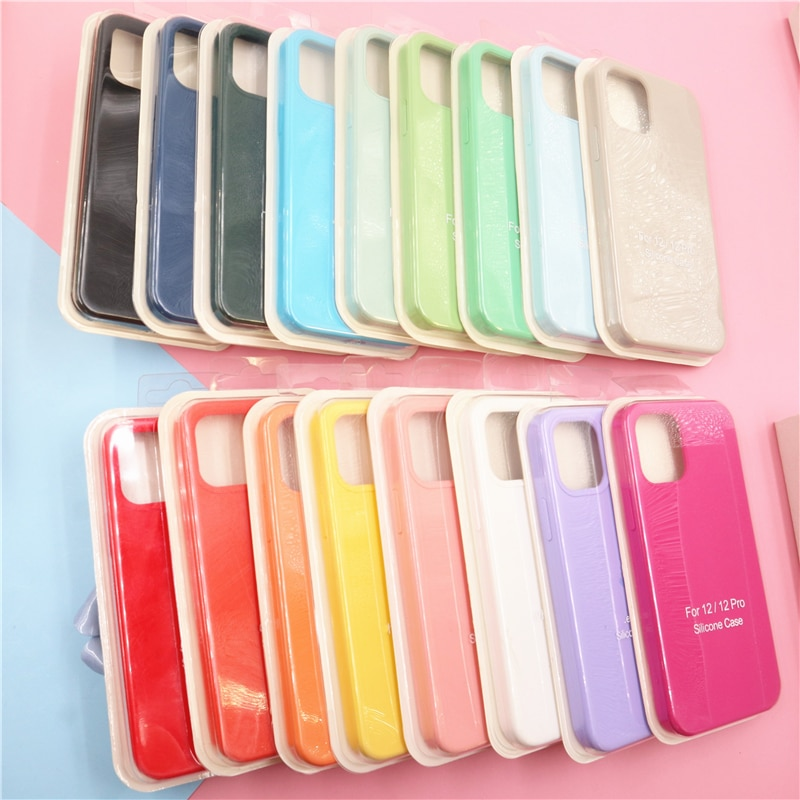 For iPhone 11 12 Pro SE 2 Case Luxury Original Silicone Full Protection Soft Cover For iPhone X XR 1