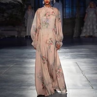 french retro summer dress 2021 new style elegant temperament lace up trumpet sleeve print and ankle chiffon long dress woman
