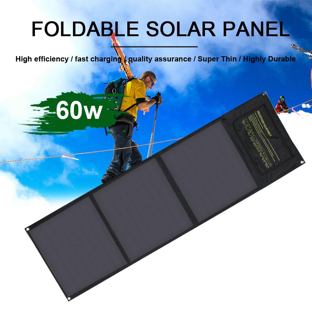 لوحة شمسية قابلة للطي مع شحن سريع ، لوحة شمسية قابلة للطي 50 واط 60 واط 18 فولت ، منفذ usb مزدوج ، شاحن شمسي للكمبيوتر اللوحي والهاتف الخلوي