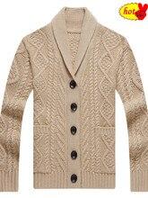 Suéter de punto con cuello en V de invierno para hombre, chaqueta informal elegante a la moda, cárdigan trenzado suelto, suéteres cálidos de lana pesada para hombre para otoño