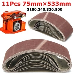 11 pces 180/240/320/800 grit lixando cintos 75mm x 533mm grit ferramenta abrasiva madeira óxido de metal lixadeira cinto ferramentas elétricas