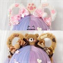 Fait à la main japonais doux Lolita ours en peluche oreilles arc bandeau cheveux accessoires de cheveux Kawaii fille coréen Cosplay KC bandeau cheveux cerceau