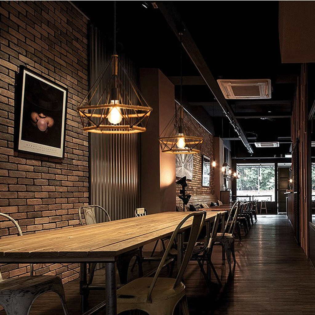 Industrial Manila Rope Iron Pendant Lampshade Ceiling Chandelier enlarge