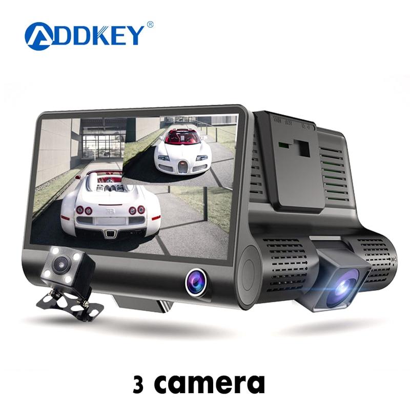 ADDKEY coche DVR 3 cámaras lente 4,0 pulgadas cámara de salpicadero era lente Dual con cámara de visión trasera Video grabadora Auto registrador Dvrs cámara de salpicadero