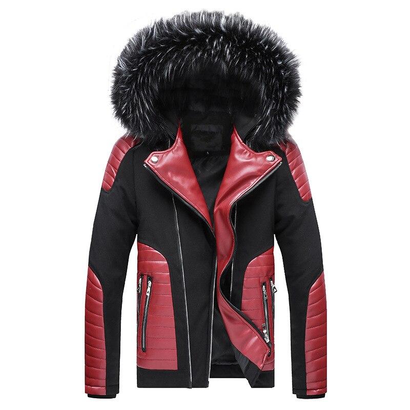 Men's Autumn Fur Wool Winter Trench Casual Jackets For Men Coat Black Puffer Jacket Warm Overcoat Parka Outwear Slim Cotton Coat