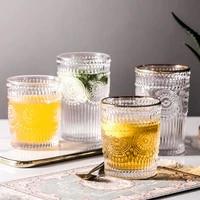 retro sun flower coffee glass mug gold rim glass water cup milk tea coffee cup cocktail glass crystal transparent mug drinkware