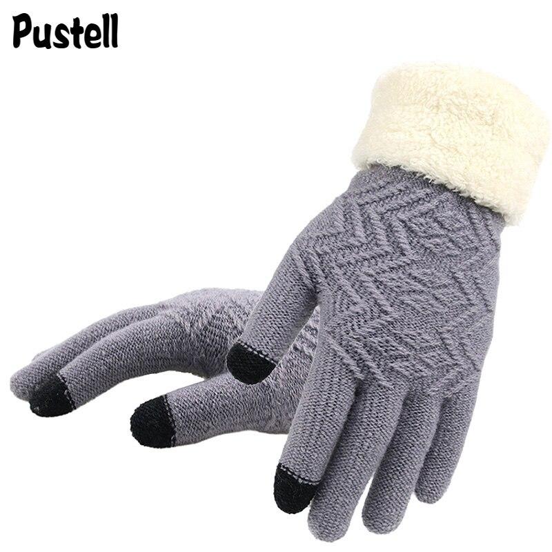 Зимние женские вязаные перчатки, женские перчатки с сенсорным экраном, вязаные плотные теплые мягкие тянущиеся вязаные варежки, женские пе...