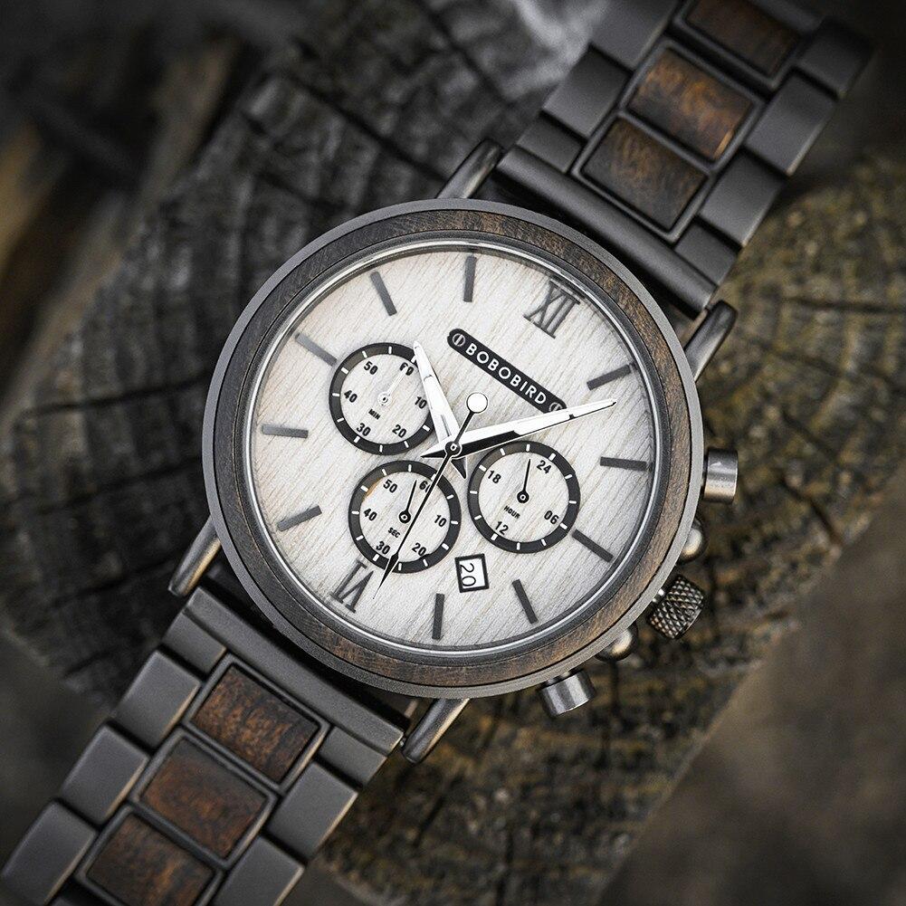 Relógios de Luxo com Caixa Madeira Bobo Pássaro Relógio Masculino Verde Luminoso Mãos Data Automática Relógios Cronógrafo