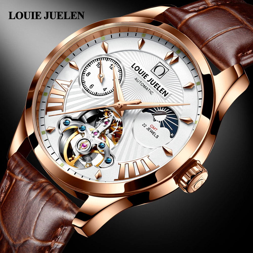 Mechanical Watch Men Automatic Moon Phase Wirstwatches Waterproof Top Brand Luxury Automatic Mens wa