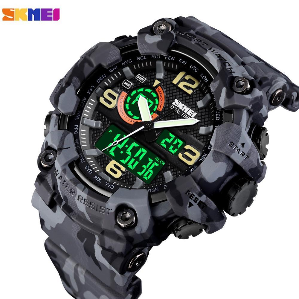 SKMEI Men Sports Watches Male Clock Japan Digital Quartz Watch movement Military Stopwatch 2 Time LED Display Relogio Masculino