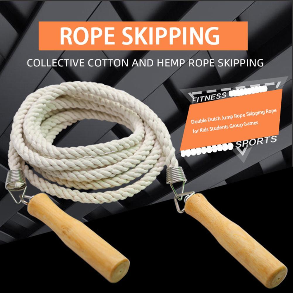 Cuerda de algodón de punto con doble soga para saltar 5m / 7m para niños estudiantes juegos de grupo Fitness ejercicios de saltos
