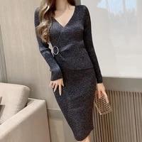ljsxls 2020 autumn winter new slim black knitted dress women long sleeve bright silk folds pullover sweater dresses sexy v neck