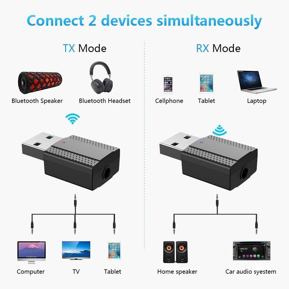 2 in 1 Bluetooth Sender Empfänger USB Wireless Audio Adapter BLE5.0 für Maus Tastatur SP99