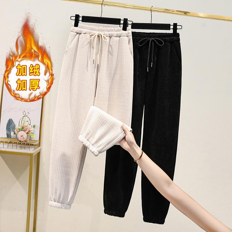 Large Size Fashionable High Waist Lace-up Harem Pants plus Velvet Thickened Winter Corduroy Ankle Ba