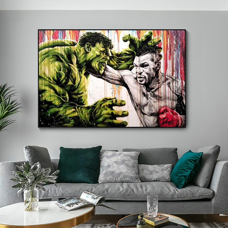 Hulk Fight Tyson boks król plakaty i druki Graffiti bokser Cartoon Street Art obraz na płótnie na Home Decor Wall Art