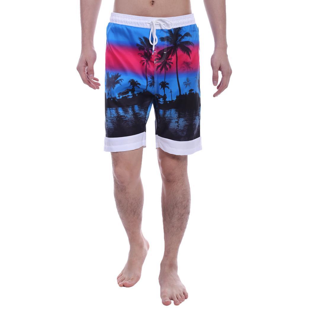 Novedad en pantalones cortos a la moda para hombre, de cintura media, con estampado Casual de Aloha, holgados, de primavera y otoño, para la playa