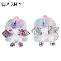 princess bag fashion cotton kindergarten children plush horn horse color backpack school travel cute small handbags knapsacks