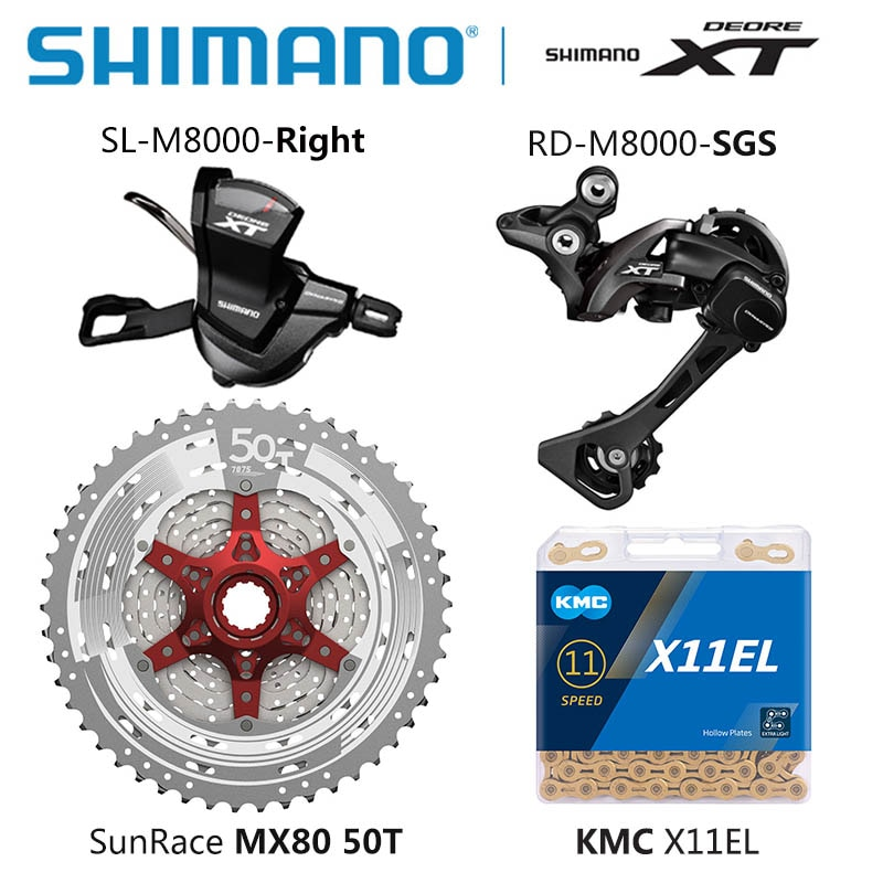 SHIMANO DEORE XT M8000 Groupset MTB bicicleta de montaña 1x11-Speed 46T 50T SL + RD + CSMX80 + X11.93 X11EL M8000 palanca de cambio CAMBIO DE marquesina