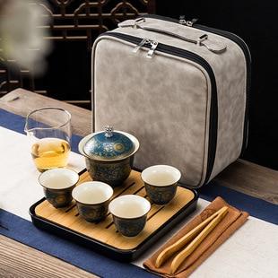 الرجعية في الهواء الطلق السفر ماكينة إعداد الشاي كوب سيراميك أسود متجمد طقم شاي هدية عيد طقم شاي صيني اكسسوارات المطبخ