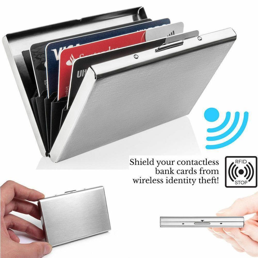 Anti-Scan RFID 1 PC Aluminum Metal Credit Card Holder Slim Blocking Wallet Case Business Card Protection Holder Case недорого