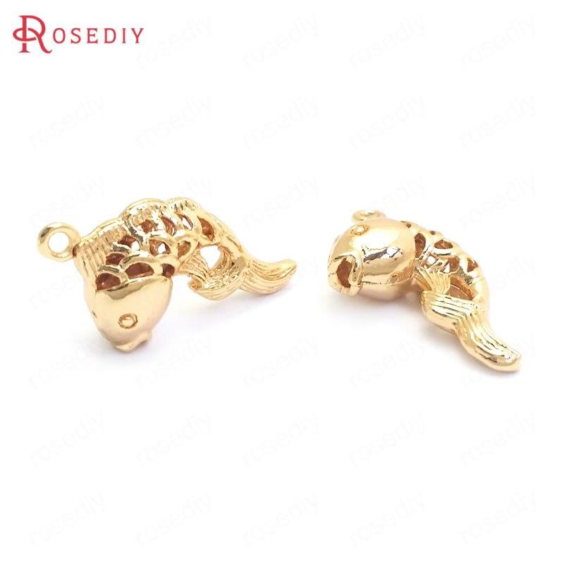 (37364)10 pçs 16x16mm 24k ouro cor bronze goldfish encantos pingentes jóias de alta qualidade que fazem suprimentos diy descobertas acessórios