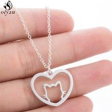 Oly2u personnaliser mignon Animal chat pendentif collier minimaliste bijoux amour coeur breloque colliers Animal amant cadeau anniversaire kolye