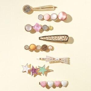 8Pcs/Pack Pearls Geometric Hair Clips Crystal Hairpins Sweet Hair Ornament Hairpin Elegant  Barrette Hair Accessorie for Girls