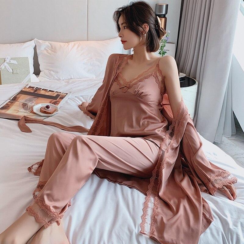 Vestido de pijama de manga comprida com decote em v pijamas kimono casa lounge terno 3 pçs roupões