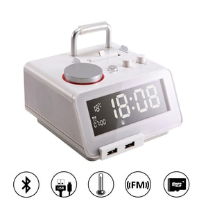 Homtime Bluetooth speaker with radio USB speakers alarm clock wireless speaker docking charger for iphone ipad ipod