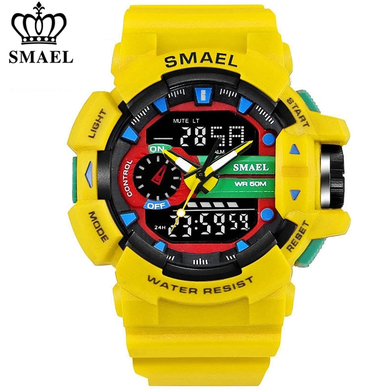 SMAEL Men Sports Watch Military Watches LED Quartz Dual Display Waterproof Outdoor Sport Men's Wrist