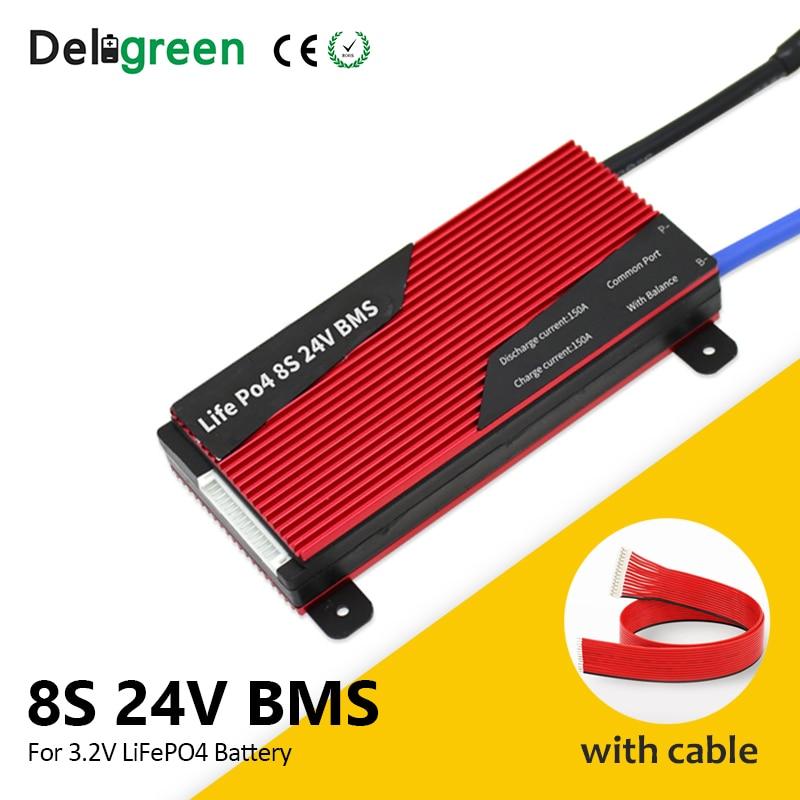 Deligreen BMS 18650 8S 80A 100A 150A 200A 24V BMS مع موازنة ل E-الدراجة LiFePO4 بطارية حزمة