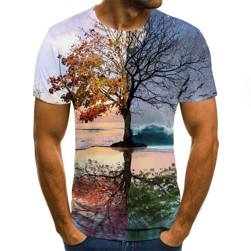 2021 New Men 3D T-shirt Casual Short Sleeve O-Neck Fashion Nature Printed T Shirt Men Tees summer 3d printed round neck short sleeve t shirt for men thin short sleeve t shirt for men large short sleeve t shirt
