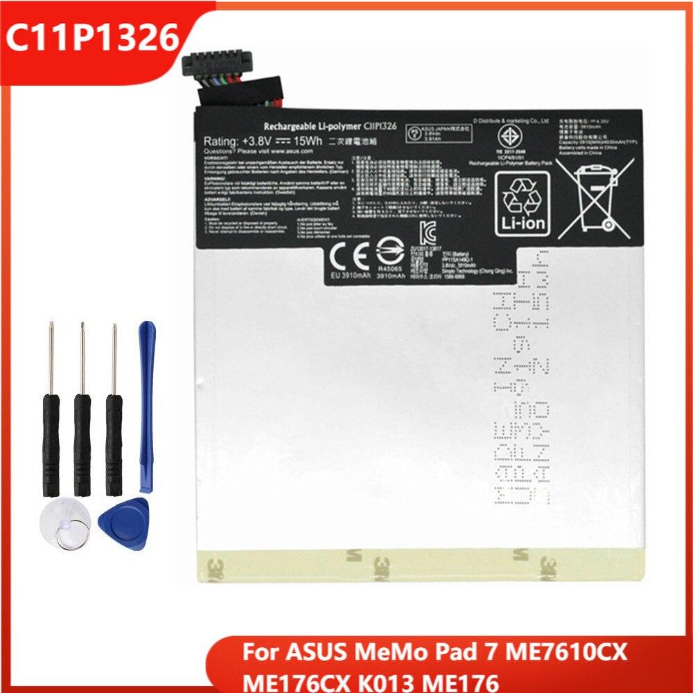 Оригинальный аккумулятор C11P1326 для ASUS MeMo Pad 7 ME7610CX ME176CX K013 ME176, сменные аккумуляторные батареи 3910 мАч