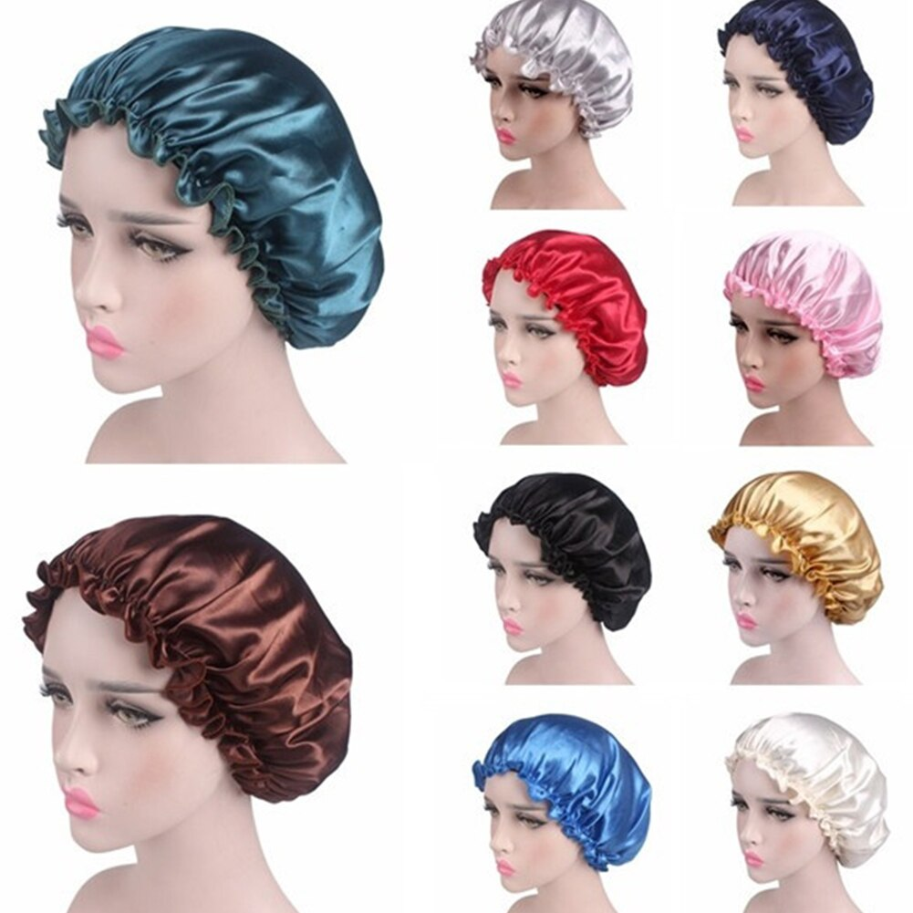 Lady Night Sleep Hat Fashion Women Hat Long Hair Care Chemo Cap Highelastic Satin Lace Bonnet Turban