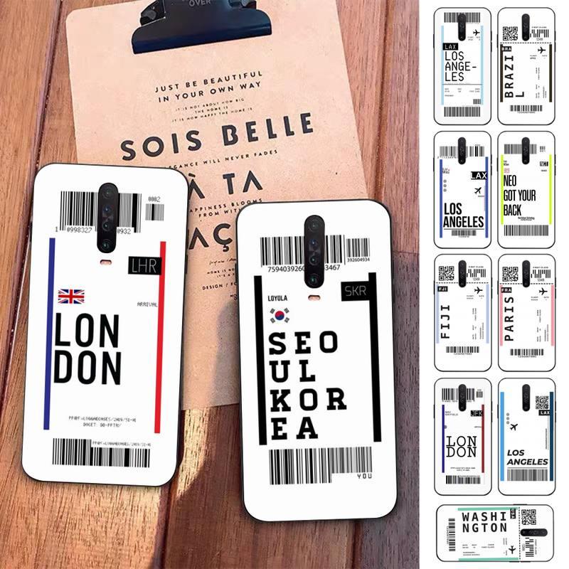 Hot World City Dubai Singapore Paris Bangkok travel ticket label Phone Case for Redmi 5 6 7 8 9 A X pro plus K20 S2 K30 pro Go