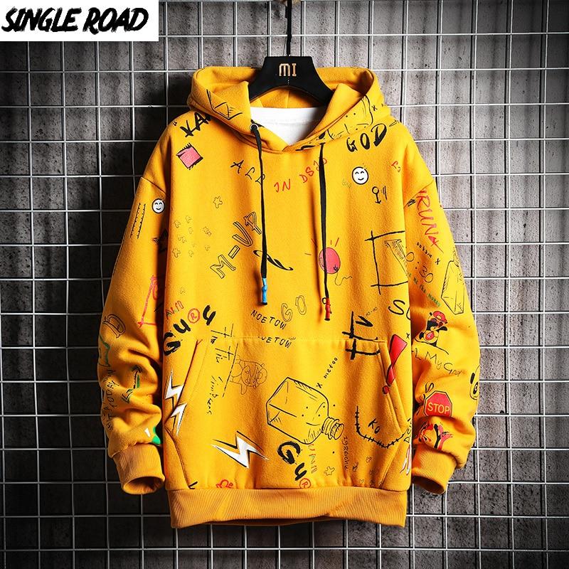 Single Road Men's Anime Hoodies Men Hip Hop Harajuku Sweatshirt Male Japanese Streetwear Oversized Yellow Hoodie Men Sweatshirts