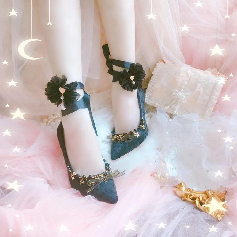 Оригинальные туфли с острым носком, женские туфли на высоком каблуке, туфли с закрытым носком, тканевые туфли в стиле Лолита туфли berkonty туфли
