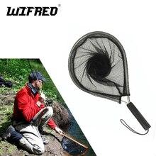 Wifreo 1PC Black Aluminium Landing Nets Fly Fishing Fish Saver Nylon Knotless Mesh Trout Hand Net