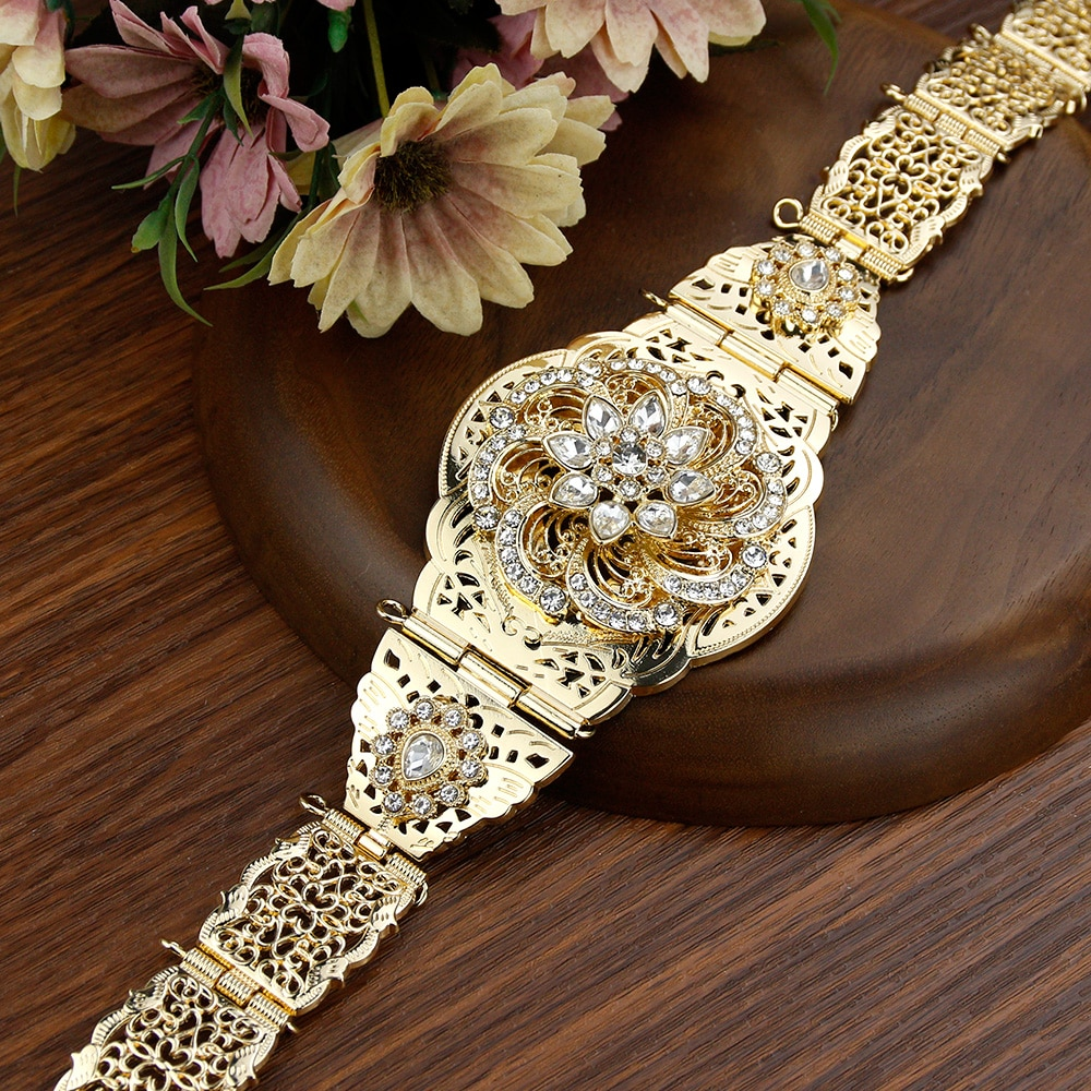 Sunspicems Elegent المغرب كريستال حزام للنساء الذهب الفضة اللون مجوهرات الزفاف القفطان حزام خصر سلسلة قابل للتعديل طول