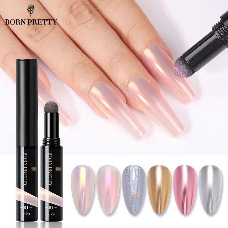 BORN PRETTY Nail Powder Cushion Pen Auroras Nails Laser Mirror Nail Art Glitter Muticolor Chrome Hol
